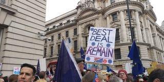 Den London Brexit folkomröstningdemonstrationen marscherar royaltyfri fotografi