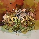 Den London vattenfärgen klottrar beståndsdelbakgrund Royaltyfri Fotografi