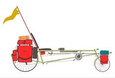 Turist- tillbakalutad cykel. stock illustrationer
