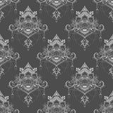 Den Lotus blomman i sömlös modell för mandalameditationstil i mittgrå färger och vit tonar royaltyfri illustrationer