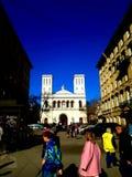 Den Lutheran kyrkan av St Peter och Saint Paul i solsken St Petersburg royaltyfria bilder