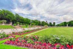 Den Luxembourg slotten och parkerar i Paris, Jardinen du Luxembourg, nolla Arkivbilder