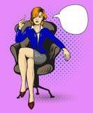 Den lyckade affärskvinnan sitter i stolvektorillustration i komisk stil för popkonst Arkivbild