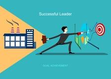 Den lyckade ledaren uppnår mål Arkivfoton