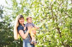 Den lyckliga älska familjen med behandla som ett barn sonen i blommande vårträdgård behandla som ett barn holdingmodern Spendera  Royaltyfria Bilder