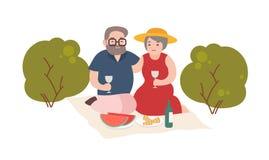 Den lyckliga åldringen kopplar ihop att ha romantiskt utomhus- för matställe som isoleras på vit bakgrund Par av att le gamala ma vektor illustrationer