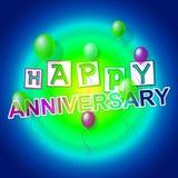 Den lyckliga årsdagen indikerar att gratulera som är gladlynt, och beröm royaltyfri illustrationer