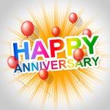 Den lyckliga årsdagen indikerar meddelandepartier och årsdagar Fotografering för Bildbyråer
