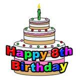 Den lyckliga åttonde födelsedagen indikerar berömpartiet och hälsningar Arkivfoton