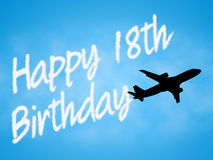Den lyckliga artonde födelsedagen indikerar gyckelatt gratulera och berömmar stock illustrationer