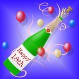 Den lyckliga artonde födelsedagen visar hälsningatt gratulera och hälsningar stock illustrationer