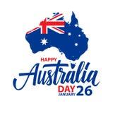 Den lyckliga Australien dagen januari 26 firar kortet med handbokstäver och borstar slaglängdöversikten av Australien och den aus royaltyfri illustrationer