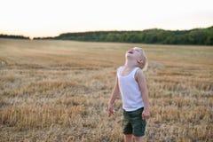 Den lyckliga blonda pojken st?r med hans huvud upp p? ett mejat vetef?lt skjuten solnedg?ngtid f?r exponering long arkivfoto