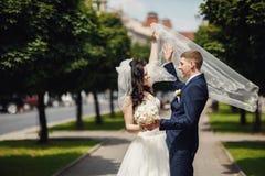 Den lyckliga bruden och brudgummen i skuggig gränd på bröllop går Arkivfoto