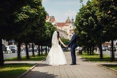 Den lyckliga bruden och brudgummen i skuggig gränd på bröllop går Royaltyfri Bild