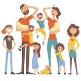 Den lyckliga Caucasian familjen med ståenden för många barn med alla ungar och behandla som ett barn och den tröttade färgrika il vektor illustrationer