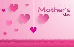 Den lyckliga dagen för moder` s, text och hjärtaform svävar på himmel Royaltyfri Bild