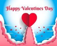 Den lyckliga dagen för valentin` s har en stor röd hjärta Omgivet av moln vektor illustrationer