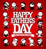 Den lyckliga designen för kortet för dagen för fader` s med många män figurerar olika yrken stock illustrationer