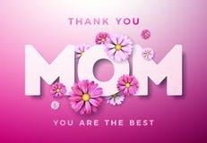 Den lyckliga designen för kortet för hälsningen för moderdagen med blomman och tackar dig typografiska beståndsdelar för mamman p vektor illustrationer