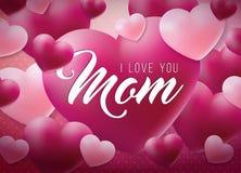 Den lyckliga designen för kortet för hälsningen för moderdagen med hjärta och älskar dig typografiska beståndsdelar för mamman på vektor illustrationer
