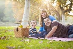 Den lyckliga etniska familjen för det blandade loppet som har en picknick parkerar in Arkivfoto
