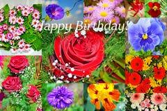 Den lyckliga födelsedagen blommar collagevykortet royaltyfri foto