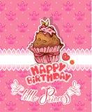 Den lyckliga födelsedagen, den lilla prinsessan - semestra kortet för flicka Arkivbilder