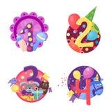 Den lyckliga födelsedagen förser med märke vektorsymboler Royaltyfria Bilder