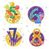 Den lyckliga födelsedagen förser med märke vektorsymboler Arkivfoton
