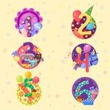 Den lyckliga födelsedagen förser med märke vektorsymboler Arkivbild