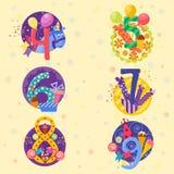 Den lyckliga födelsedagen förser med märke vektorsymboler Arkivbilder