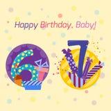 Den lyckliga födelsedagen förser med märke vektorsymboler Royaltyfri Fotografi
