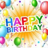 Den lyckliga födelsedagen indikerar hälsningar parti och hälsning Arkivfoton