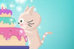 Den lyckliga födelsedagen med det stora kakahälsningkortet, det gulliga kattungeberömpartiet, konfettier och stjärnan blänker fal vektor illustrationer