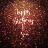 Den lyckliga födelsedagen till dig card guld- och purpurfärgat Arkivfoto