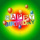 Den lyckliga födelsedagen visar det gladlynta partiet och att gratulera stock illustrationer