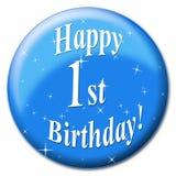 Den lyckliga första födelsedagen indikerar att gratulera hälsning och hälsningar royaltyfri illustrationer