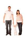 Den lyckliga fadern, fostrar och behandla som ett barn Arkivfoto