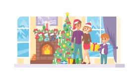 Den lyckliga familjen firar nytt år för jultid på husogether Moder-, fader- och ungetecken sänker vektorstil på royaltyfri illustrationer