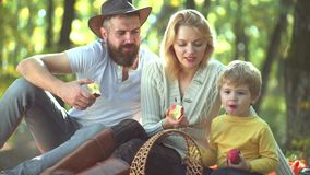 Den lyckliga familjen i soligt parkerar Lycklig tidsfördriv tillsammans Familj som äter det nya äpplet Sund och lycklig tid med f stock video
