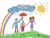 Den lyckliga familjen lurar den konstnärliga teckningen royaltyfri illustrationer