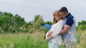 Den lyckliga familjen - man att krama hans gravida fru bakifrån Det är i parkera eller fältet stock video
