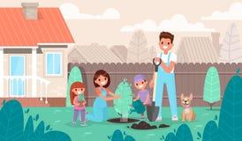 Den lyckliga familjen planterar ett träd i trädgården Föräldrar och barn royaltyfri illustrationer