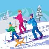 Den lyckliga familjen skidar i vinterdagen Stock Illustrationer