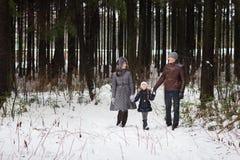 Den lyckliga familjen som går i en vinter, parkerar Royaltyfri Foto