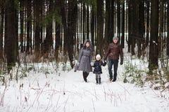 Den lyckliga familjen som går i en vinter, parkerar Royaltyfri Bild