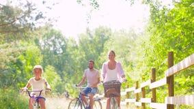 Den lyckliga familjridningen cyklar i sommar parkerar lager videofilmer