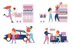 Den lyckliga familjshoppingupps?ttningen isolerade supermarket vektor illustrationer