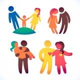 Den lyckliga familjsymbolen som var mångfärgad i enkla diagram, ställde in Barn, farsan och mamman står tillsammans Vektorn kan a Arkivbilder